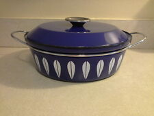 Mid Century Large Catherine Holm Lotus Blue White Enamel Dutch Oven with Handles