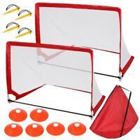 Pop Up Soccer Trainer Ramp Football Fold Equipment Goal Shoot Training w/Bag