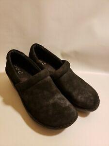BOC Born Women Shoe 6M 37 EUR Clogs Black Shiny Geometric Nursing Casual Mules