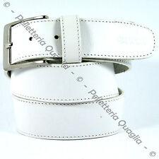Cintura Pelle Cuoio Bianco Uomo Donna Artigianale Made In Italy 4 cm Su Misura