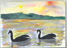 "ACEO""LAKE CHIEM GERMANY "" ORIGINAL WATERLOLOUR PAINTING  8/07"