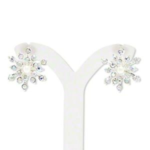 Snowflake Earrings Silver Glass Crystals Post Stud Holiday Jewelry