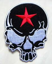 Red Star Black Skull Punk Rock Biker Embroidered Iron on Patch Free Postage
