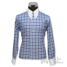 Mens Vintage shirt Spearpoint collar 1930s 40s Blue British checks Cotton Gents
