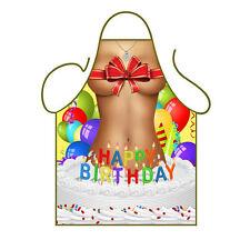 Novelty Kitchen Apron Cooking Happy Birthday Girl Ribbon Balloons Cake Fun