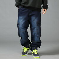 Mens Jeans Cargo Pants Denim Baggy Loose Streetwear Stonewash Hip-Hop Skateboard