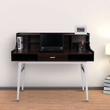 Wooden Computer Desk Workstation Table Storage Shelves Home Office Furniture