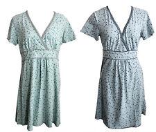 Sorgenfri Sylt Kleid Gr. L XL blau mint geblümt Spitze Wickelkleid Vintage V367