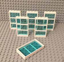 Lego X6 New White Frame W/ 3 Panes 1x4x6 Window W/ Trans-Light Blue Glass Parts