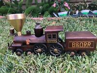 B&O Railroad  Wooden Train Locomotive Smoking Set Ashtray Lighter