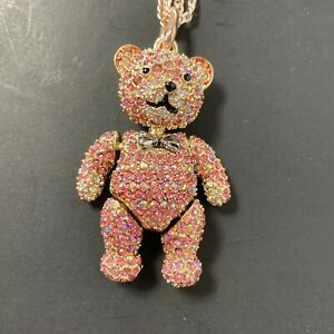 Betsey Johnson Pink Rhinestone Teddy Bear Necklace Jointed Arms & Legs Rose Gold