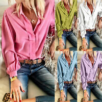 Women Fashion Ruffles Long Sleeve Casual Loose Shirt Top Blouse New 2 oq