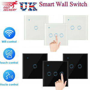 1/2/3 Gang Remote Touch Smart Switch WiFi Wall Panel For Amazon Alexa Google UK