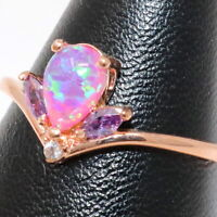 Pear Pink Australian Fire Opal Ring Women Birthday Jewelry 14K Rose Gold Plated