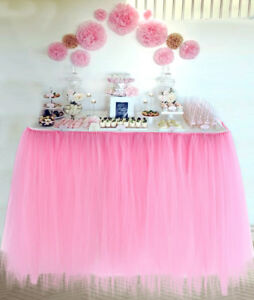 Handmade Table TuTu Skirt Table Cloth For Parties / Table Decoration Baby Pink