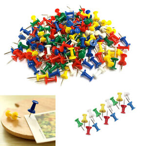100 Mixed Coloured Push Pins for Noticeboard Cork Desk Stationery School & Work