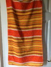 "New vintage hand towel,20""x 38""orange,white,yellow,brown,stripes/floral,cotton"