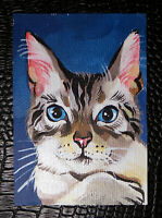 "Original art by Bastet ""Nice Cat"" OOAK hand painted ACEO"