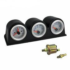 2'' 52mm Car Triple Gauge Kit 3in1 Tachometer RPM Water Temp Oil Pressure Gauge