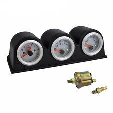 2' 52mm Car Triple Gauge Kit 3in1 Tachometer Rpm Water Temp Oil Pressure Gauge