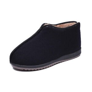 Winter Warm Slip On Mens Old Beijing Cloth Shoes Fleece Lined Ankle Snow Booties
