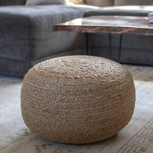 """Round Woven Jute Pouf Footrest Ottoman Natural Brown Finish Cushion Seat 20"""" Dia"""