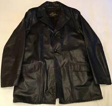 Mens VTG MONTGOMERY WARD Black Leather Button Down Coat w/ Faux Fur Liner Sz M/L