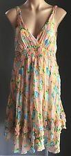 Beautiful Multi Coloured CROSSROADS Crinkle Look Empire Waist Dress Size 14
