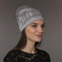 Knit Cashmere Beanie Hat With Natural Fox Fur Pom-Pom for Women