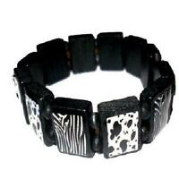 The Olivia Collection Small Black & White Wooden Animal Print Bracelet