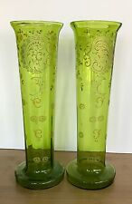 Bohemian Crystal Green Glass Vases Enameled Gilding Floral Victorian Set of 2