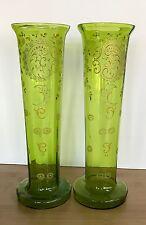 VTG Bohemia Crystal 2 Green Glass Vases Enameled Gilding Floral Victorian Set
