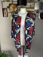 Monsoon Size 14 Black Red Blue Floral 3/4 Sleeve Blazer Jacket Collarless