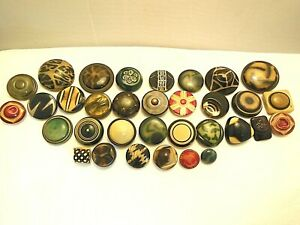 33 VINTAGE ASSORTED STYLES & SIZES TIGHT TOP CELLULOID BUTTONS AWESOME!!