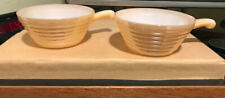 Fire-King Peach Luster Beehive Soup/Chili Bowls w/ Handles Set of 2
