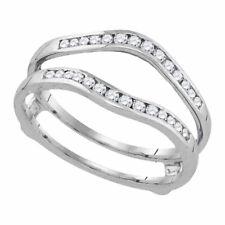 14k White Gold Round Diamond Bridal Wedding Enhancer Band Wrap Ring 1/2 Cttw