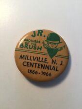 Rare 1966 Millville New Jersey Centennial Button Pin Brothers South Jersey