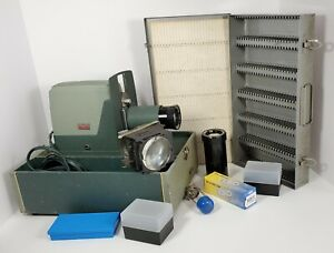 Argus 300 Slide Projector Viewer 35mm Tested & Working + Bulbs With Many Extras