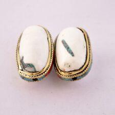 Beads Tibetan Nepalese EthnicHandmade Ub2679 Turquoise Coral Conch Shell Brass 2