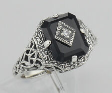 Black Onyx Filigree Ring w/Diamond Art Deco Style - Sterling Silver - Size 6,7,8