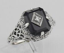 Black Onyx Filigree Ring w/Diamond Art Deco Style - Sterling Silver - Size 6,7,8
