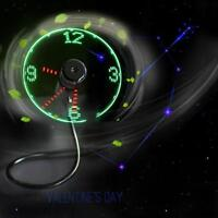 Mini USB Powered LED Cooling Flashing Real Time Display Function Clock Fan GN
