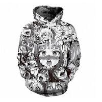 Ahegao Anime Face Hoodie Hentai Manga Mens 3D Printed Sweatshirt Pullover Jumper