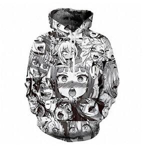 Ahegao Hentai Manga Anime Face Mens Womens Hoodie Sweatshirt Jacket Pullovers