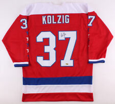 Washington Capitals Caps Olaf Olie The Goalie Kolzig Autographed Red Jersey