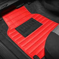 Universal PU Leather Car Floor Mats for Car SUV Van Stripe Pattern Red