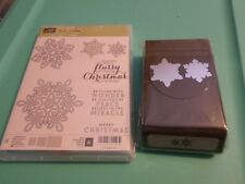 STAMPIN UP FLURRY OF WISHES 6 PC PHOTOPOLYMER STAMP SET & SNOW FLURRY PUNCH