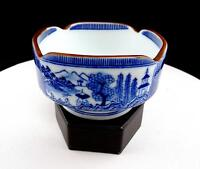 """ASIAN PORCELAIN BLUE AND WHITE BOAT AND RIVER SCENES 4 5/8"""" SQUARE RICE BOWL"""