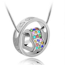 Fashion Jewelry Women Heart Mix Crystal Charm Pendant Chain Necklace Silver BT09