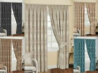 Floral Jacquard Tape Top Ready Made Fully Lined Pencil Pleat Curtains + Cushions